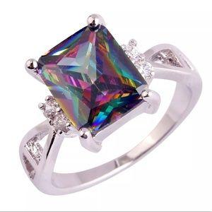 925 Rainbow Mystic Topaz Engagement Ring